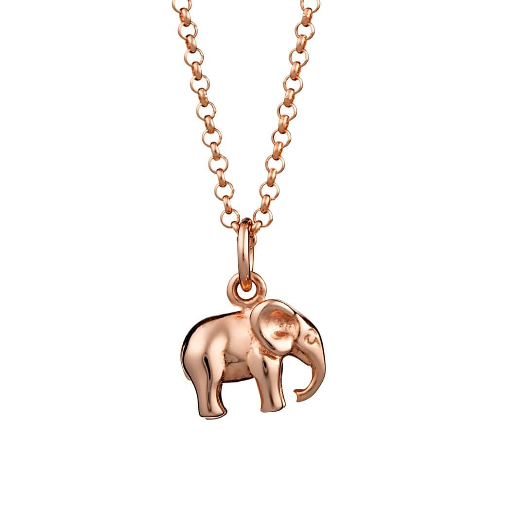 Personalised Rose Gold Plated Elephant Necklace