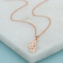 Personalised Rose Gold Plated Feather Necklace - Lily Charmed