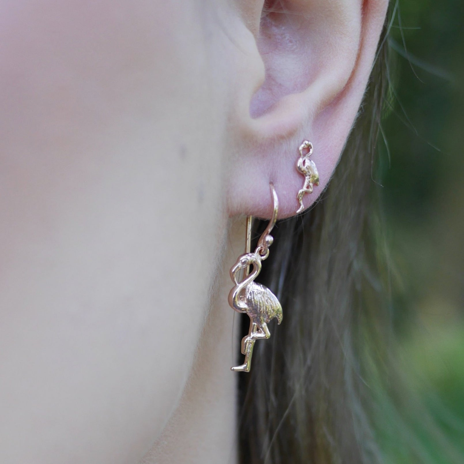Rose Gold Plated Flamingo Hook Earrings