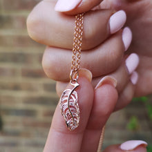 Personalised Rose Gold Plated Feather Necklace