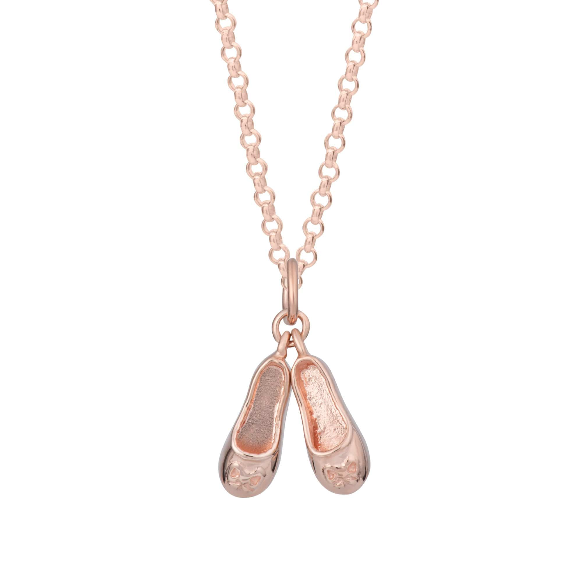 Children's Personalised Rose Gold Plated Ballet Shoes Necklace - Lily Charmed