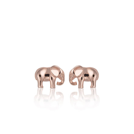 Lily Charmed Rose Gold Elephant Stud Earrings