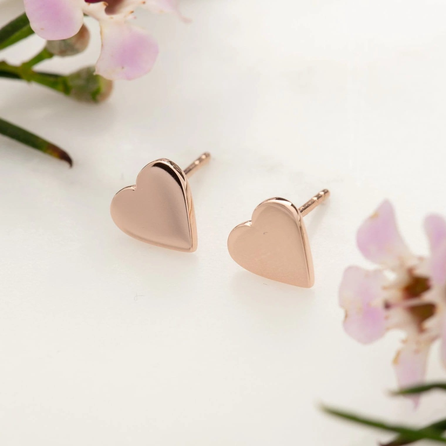 Rose Gold Plated Heart Stud Earrings - Lily Charmed