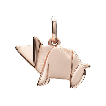 Rose Gold Plated Origami Pig Charm - Lily Charmed