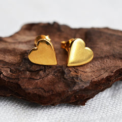 Gold Plated Heart Stud Earrings - Lily Charmed