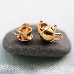 Gold Plated Teapot and Teacup Stud Earrings - Lily Charmed