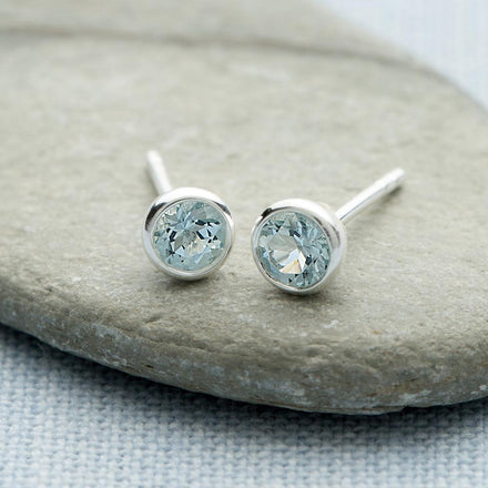 March Birthstone Earrings (Aquamarine) - Lily Charmed