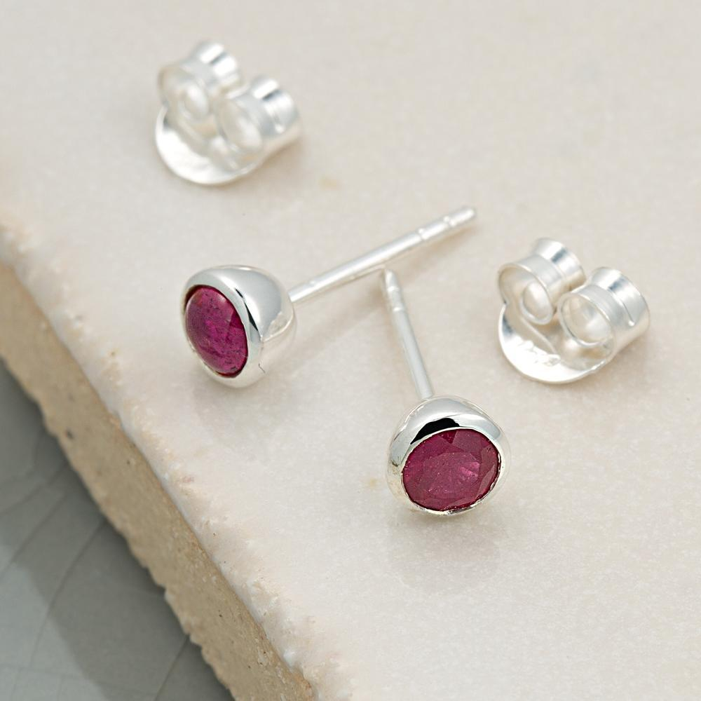 July Birthstone Earrings (Ruby) - Lily Charmed
