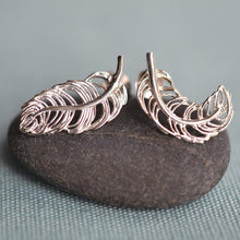 Silver Feather Stud Earrings - Lily Charmed
