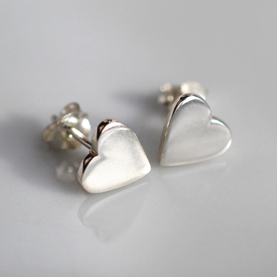 Silver Heart Stud Earrings - Lily Charmed