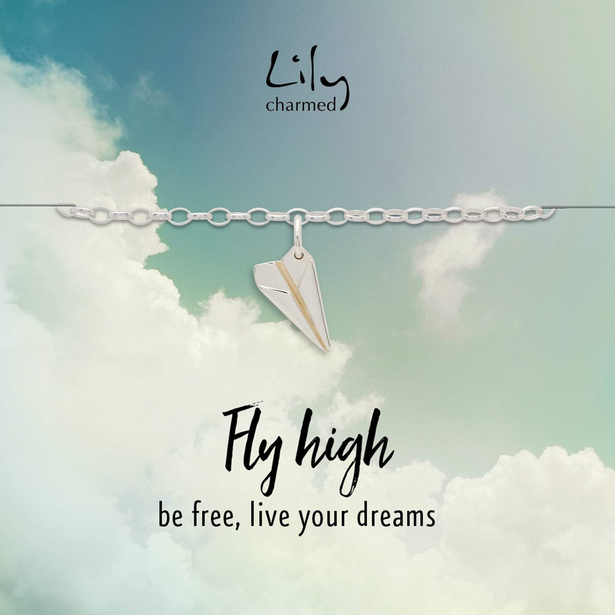 Silver Paper Plane Charm Bracelet with 'Fly High' Message