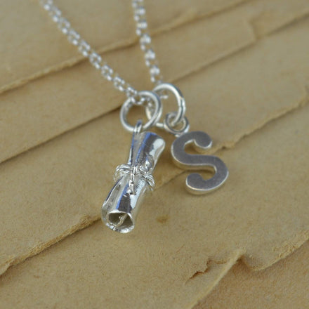 Personalised Silver Scroll Graduation Necklace