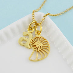 Personalised Gold Plated Shell Slice Necklace - Lily Charmed