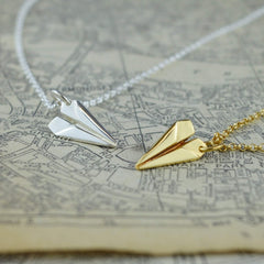 Personalised Gold Plated Paper Plane Necklace - Lily Charmed