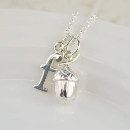 Personalised Silver Acorn Necklace - Lily Charmed