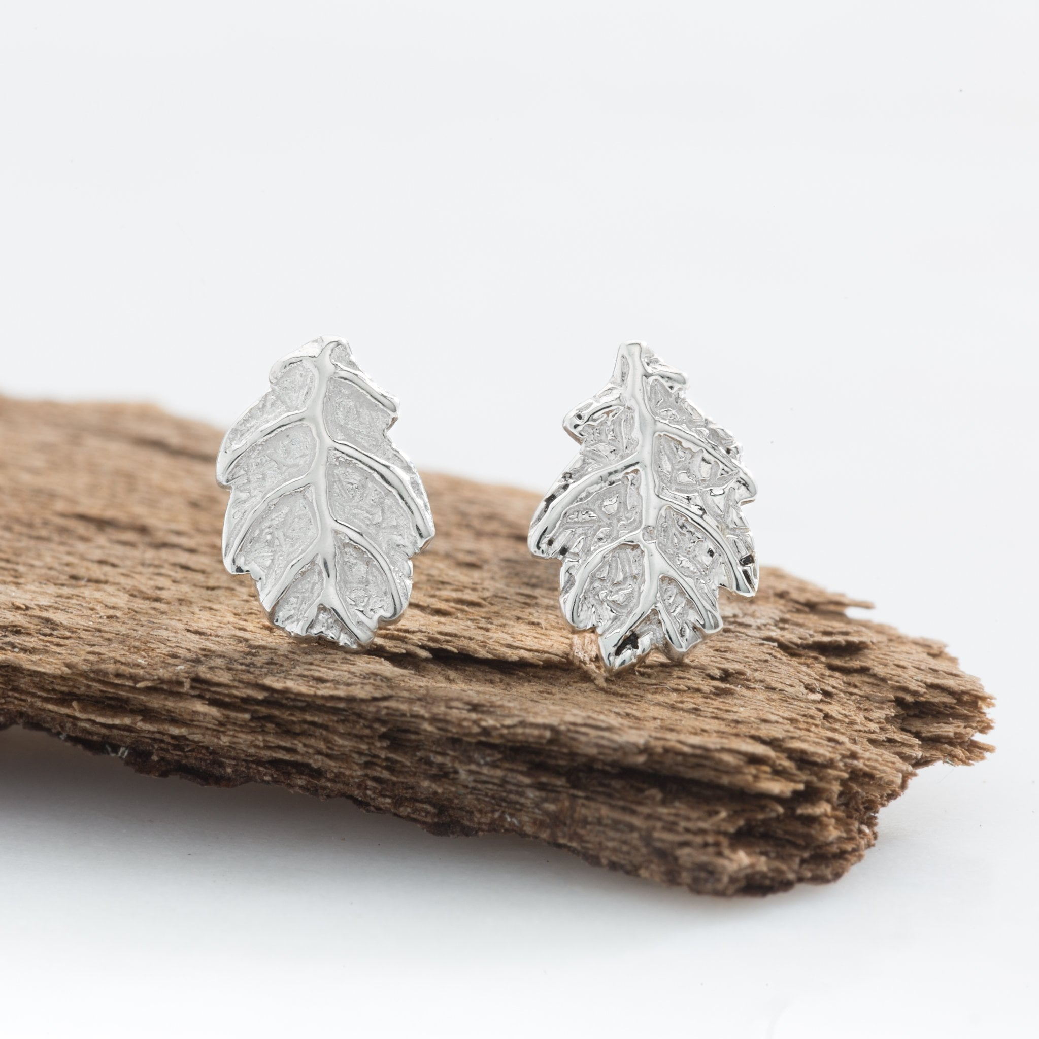 Silver Oak Leaf Stud Earrings
