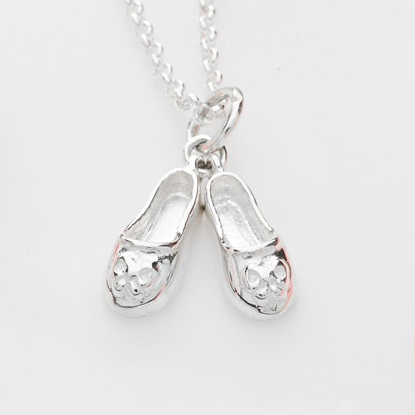 Personalised Silver Ballet Shoes Necklace - Lily Charmed