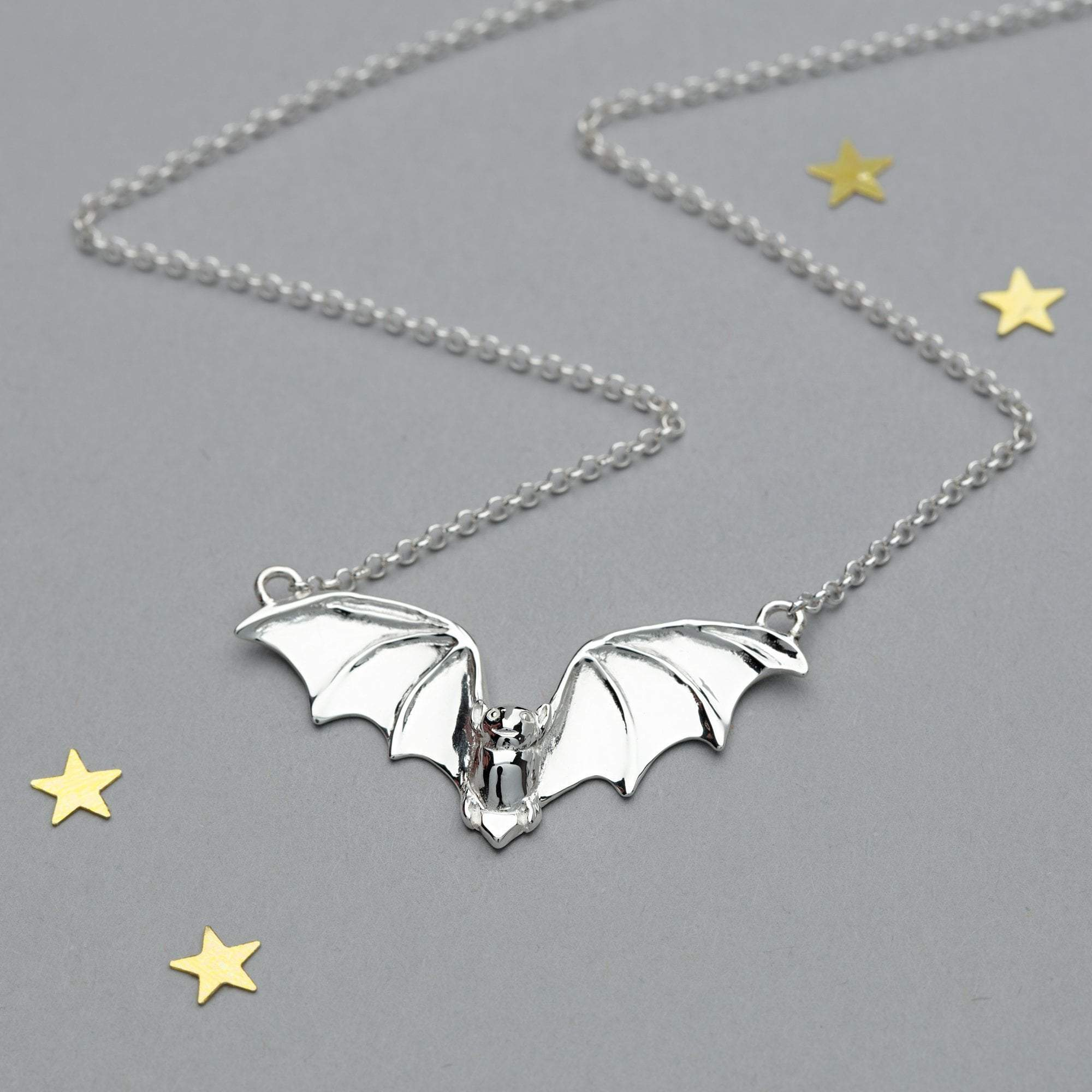 Personalised Silver Bat Necklace - Lily Charmed