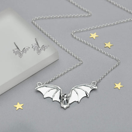 Silver Bat Jewellery Set With Stud Earrings