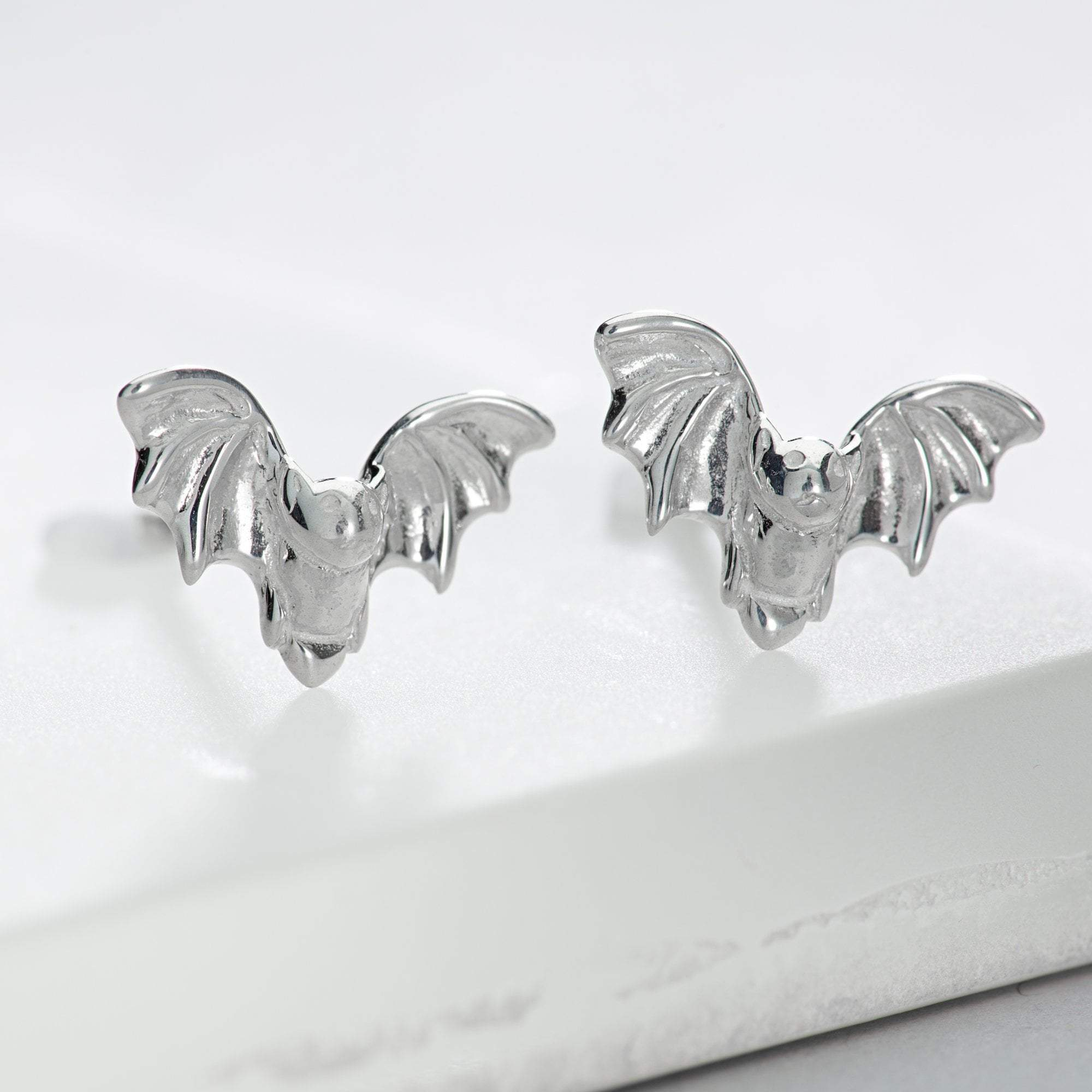 Silver Bat Jewellery Set With Stud Earrings - Lily Charmed