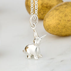 Personalised Silver Bunny Necklace - Lily Charmed