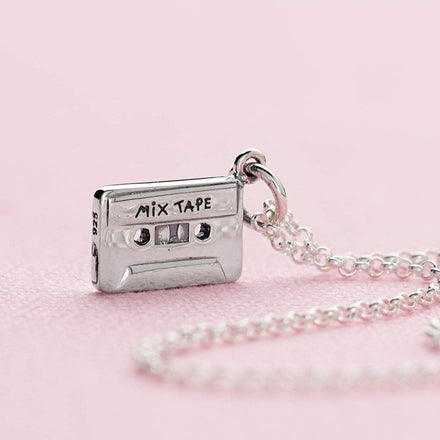Personalised Silver Cassette Tape Necklace - Lily Charmed