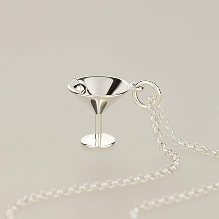 Personalised Silver Cocktail Glass Necklace - Lily Charmed
