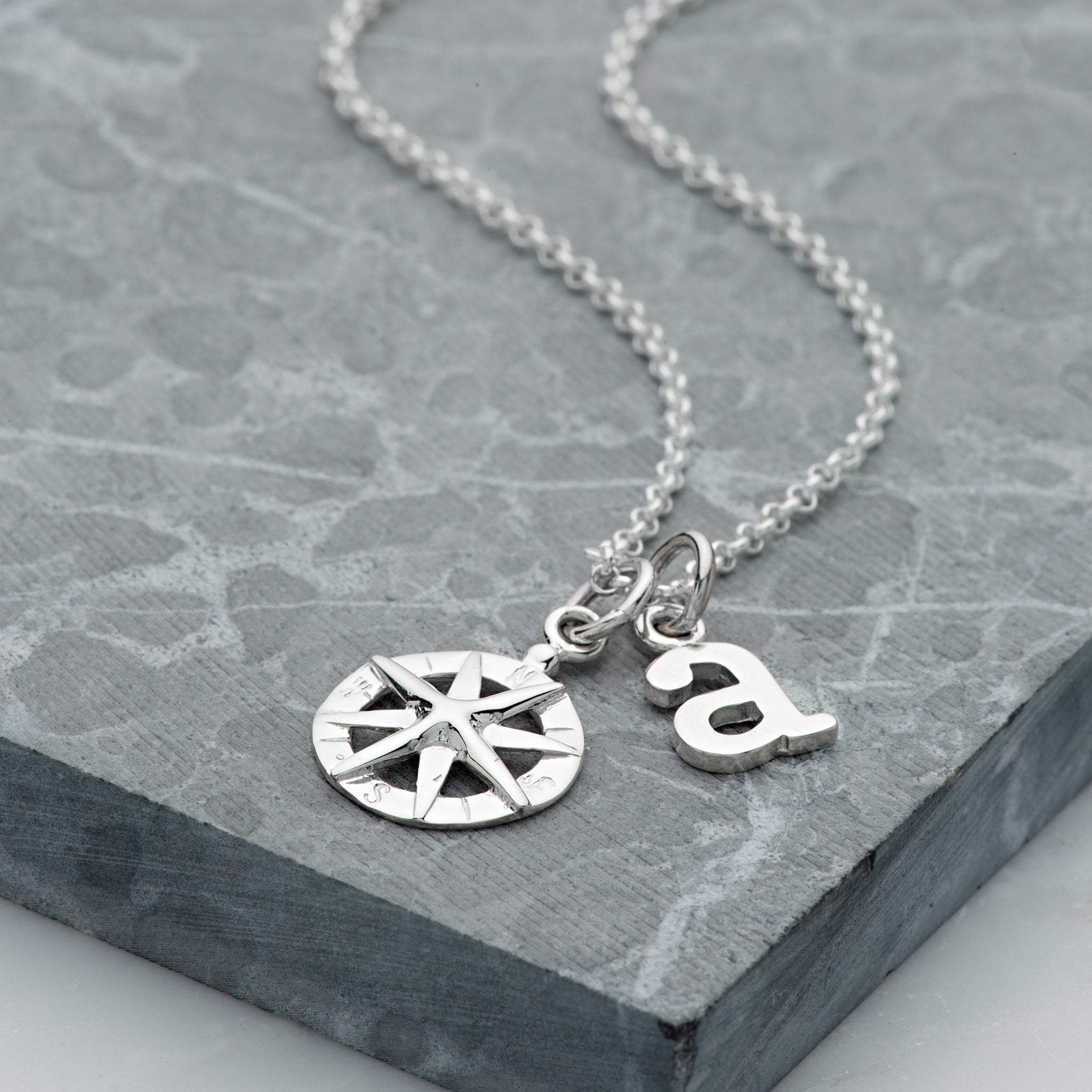 Personalised Silver Compass Necklace - Lily Charmed