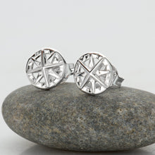 Silver Compass Stud Earrings - Lily Charmed