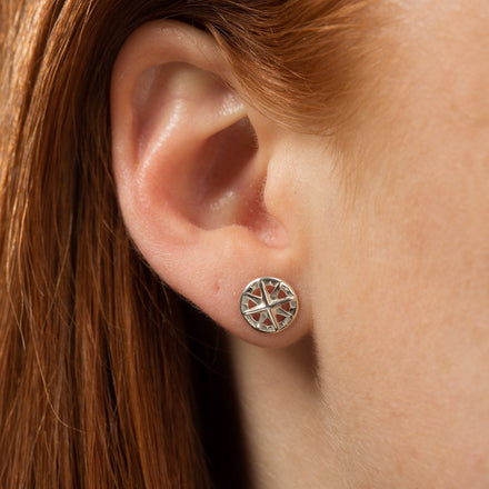 Silver Compass Stud Earrings