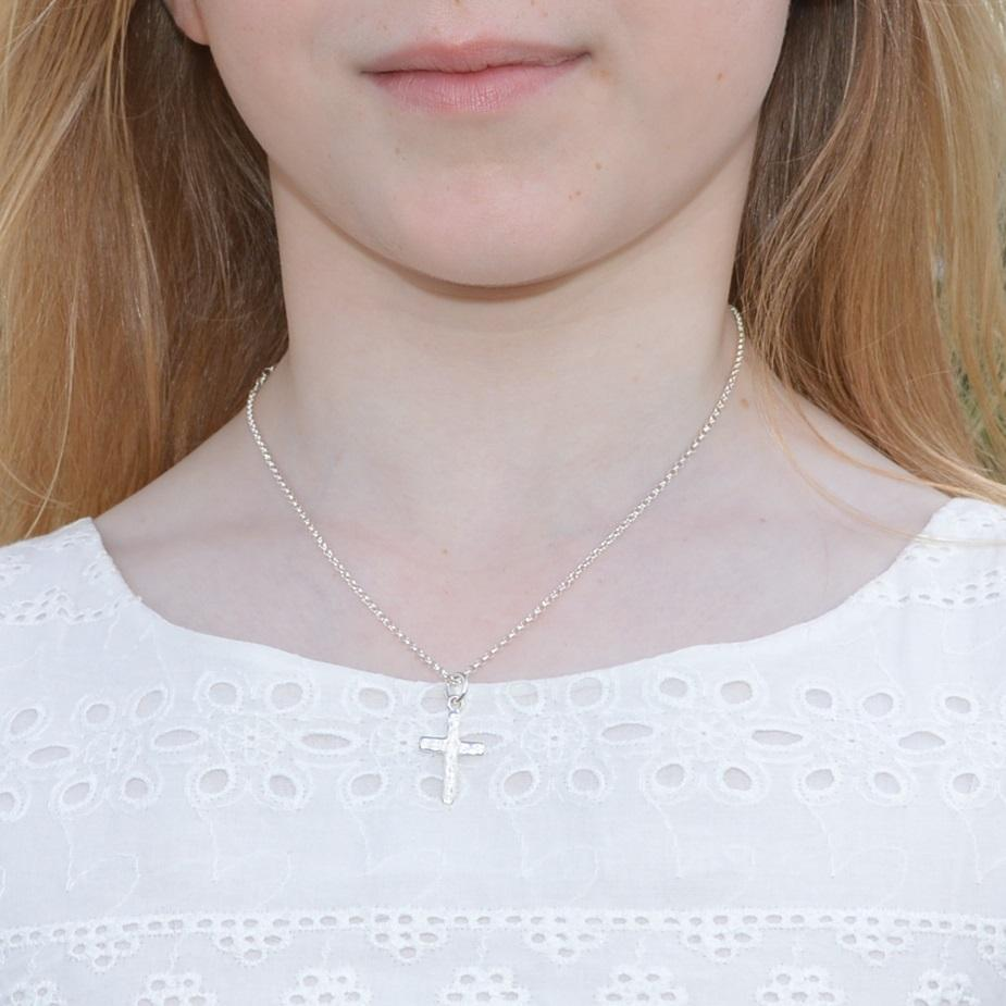 Children's Personalised Silver Cross Necklace - Lily Charmed