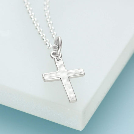 Personalised Silver Cross Necklace - Lily Charmed
