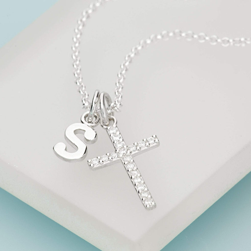 Personalised Silver Cross Necklace with Crystals - Lily Charmed