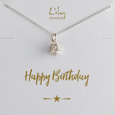 Silver Cupcake Necklace with 'Birthday' Message