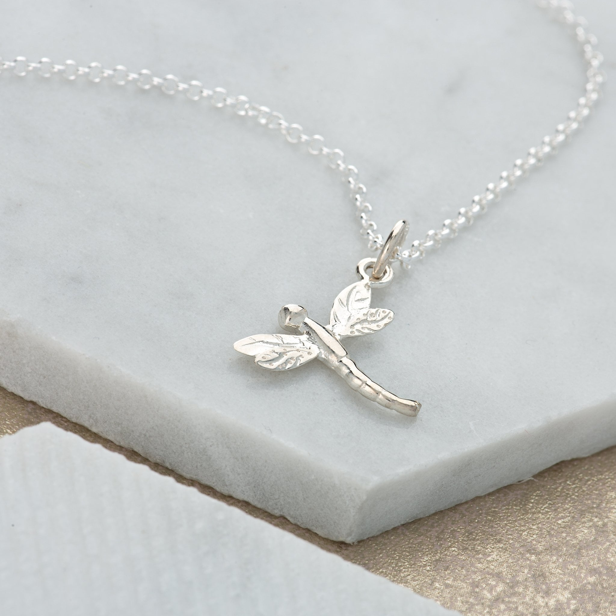 Personalised Silver Dragonfly Necklace - Lily Charmed