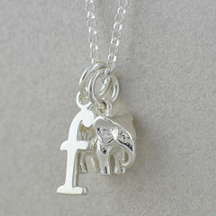 Personalised Silver Elephant Pendant with Letter - Lily Charmed