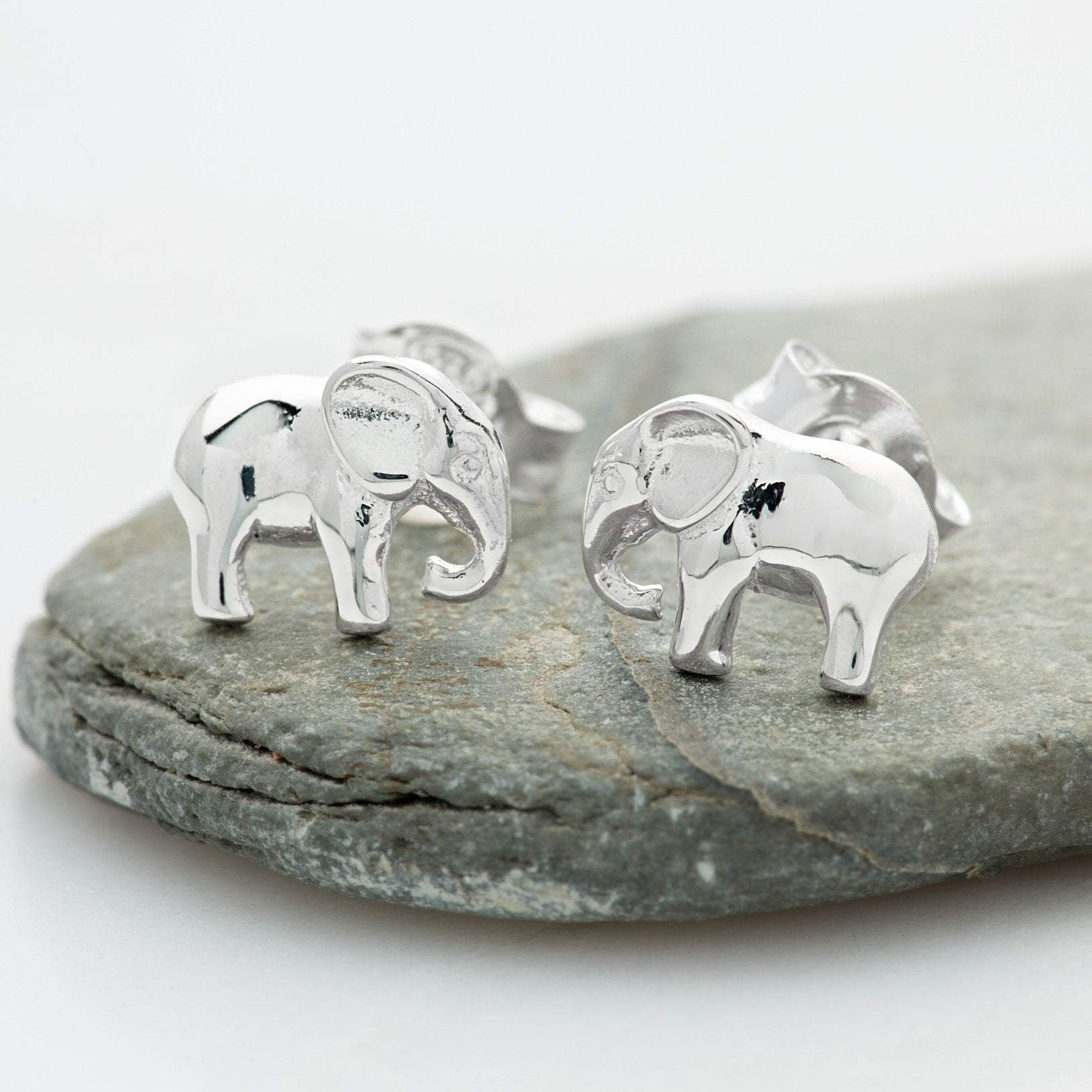 Silver Elephant Stud Earrings - Lily Charmed