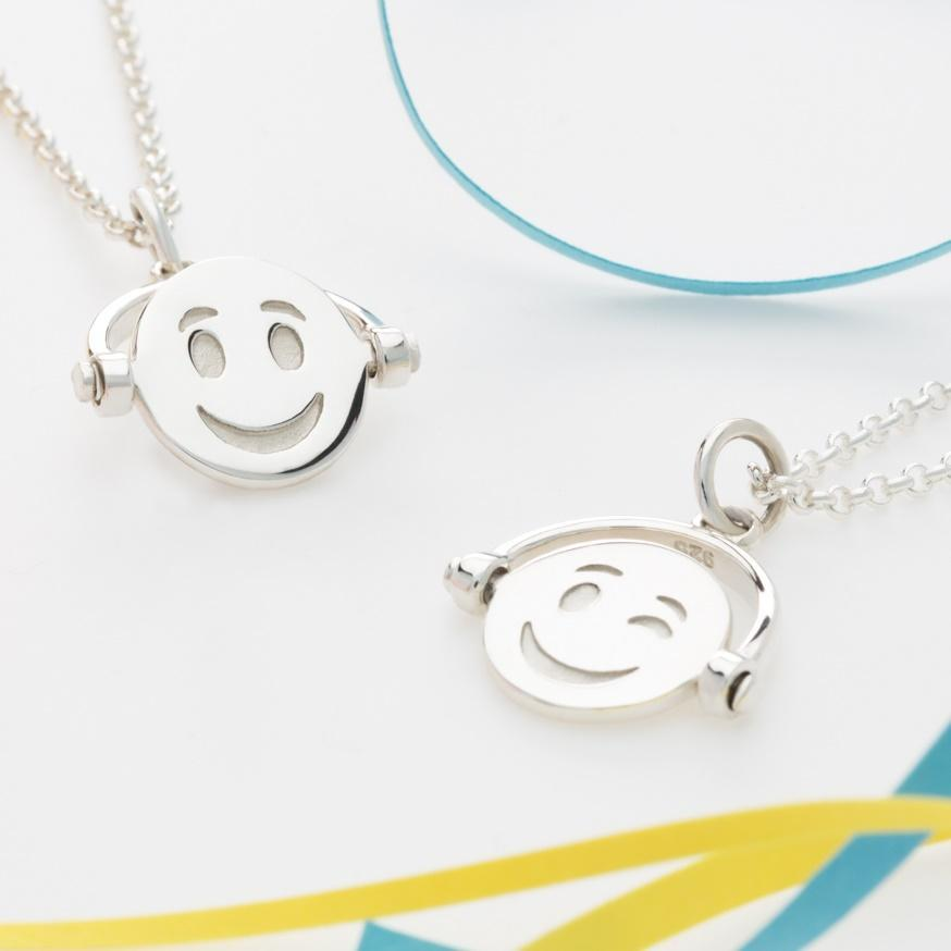Personalised Silver Emoji Spinner Necklace - Lily Charmed