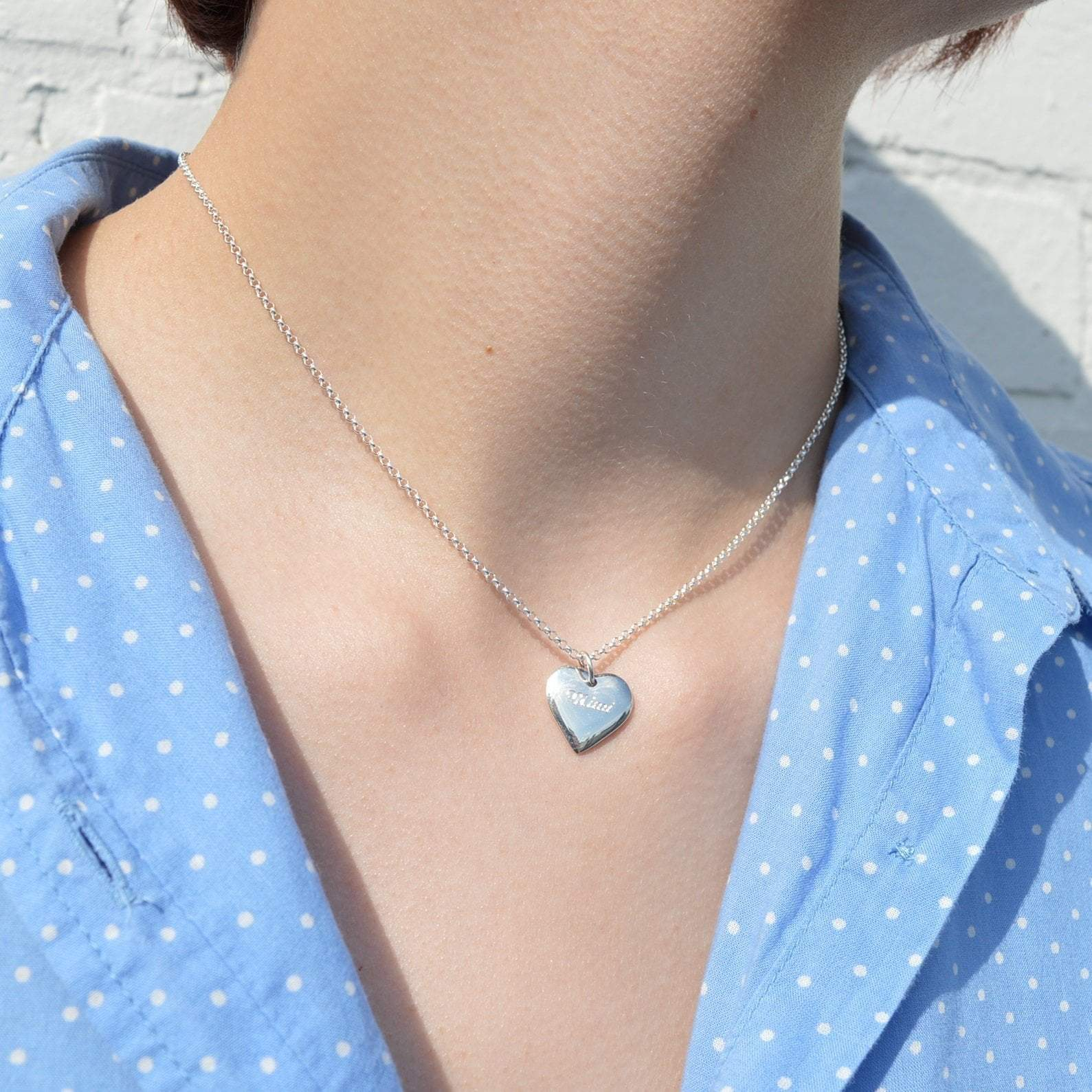 Engraved Silver Heart Necklace (Medium) - Lily Charmed