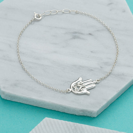 Personalised Silver Fatima Hand Bracelet - Lily Charmed