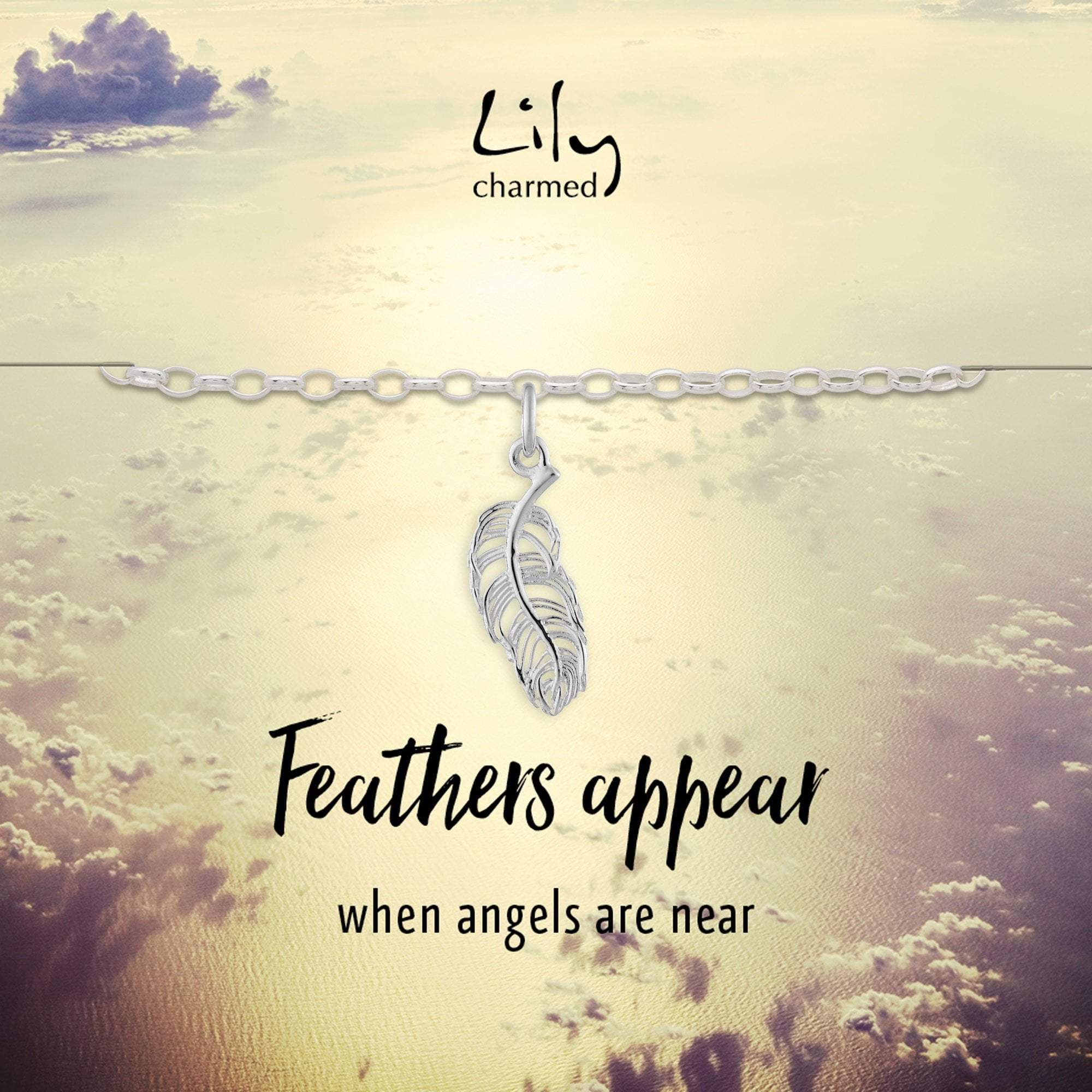 Silver Feather Charm Bracelet with 'Feathers Appear' Message - Lily Charmed