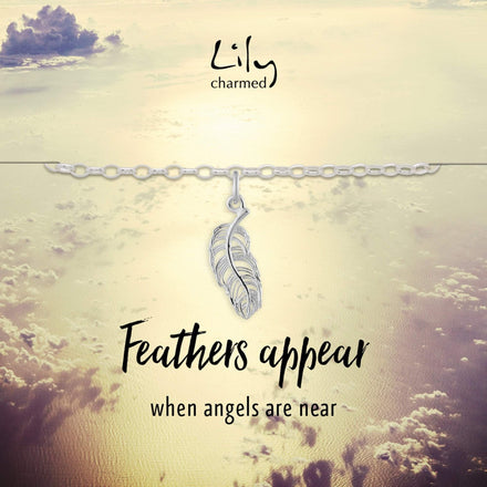 Silver Feather Charm Bracelet with 'Feathers Appear' Message
