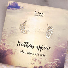 Silver Feather Stud Earrings with 'Feathers Appear' Message - Lily Charmed