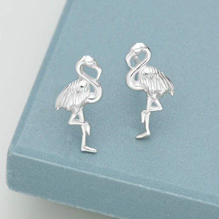 Silver Flamingo Stud Earrings