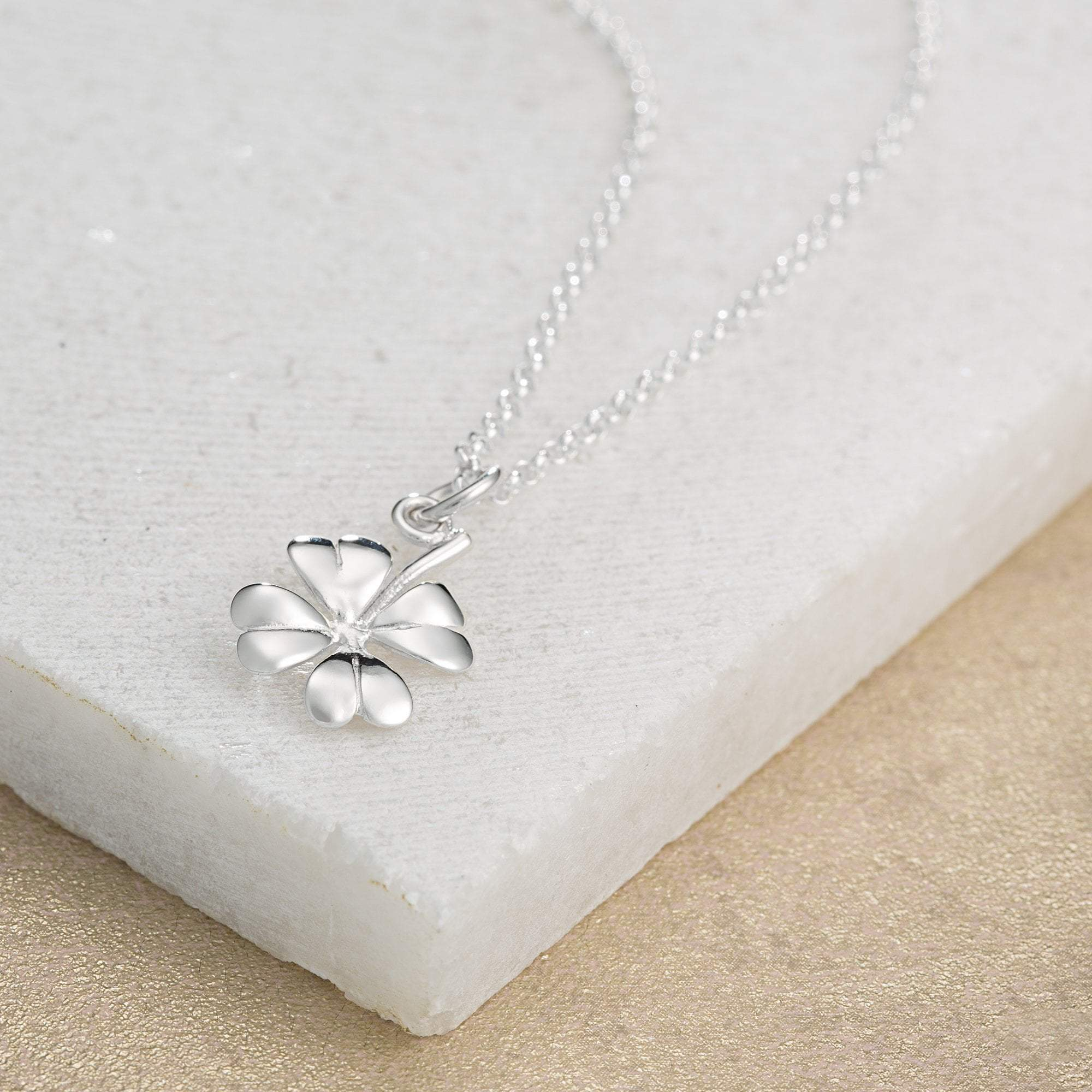 Silver Four Leaf Clover Necklace with 'Good Luck' Message