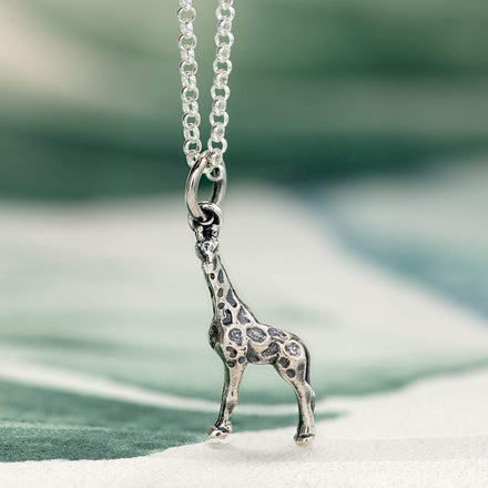 Children's Personalised Silver Giraffe Necklace - Lily Charmed