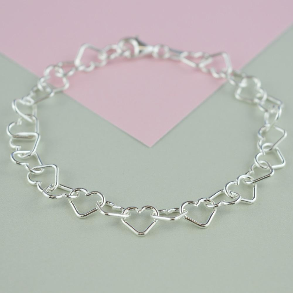 Childrens Personalised Silver Heart Bracelet - Lily Charmed
