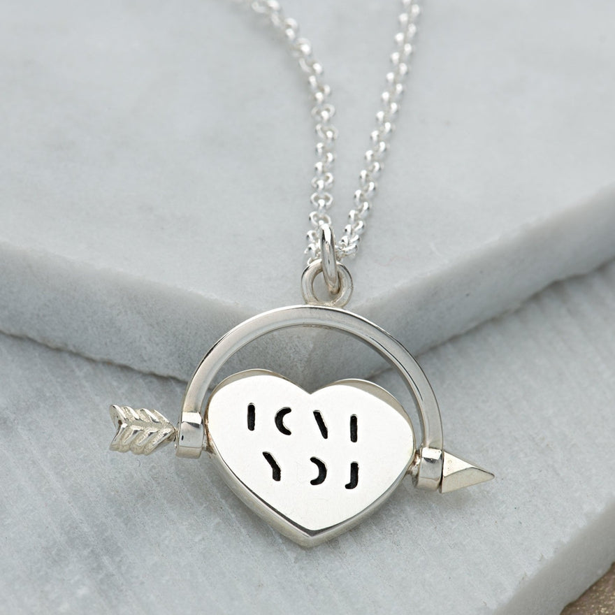 Personalised Silver Heart Spinner Necklace with Love You Message - Lily Charmed