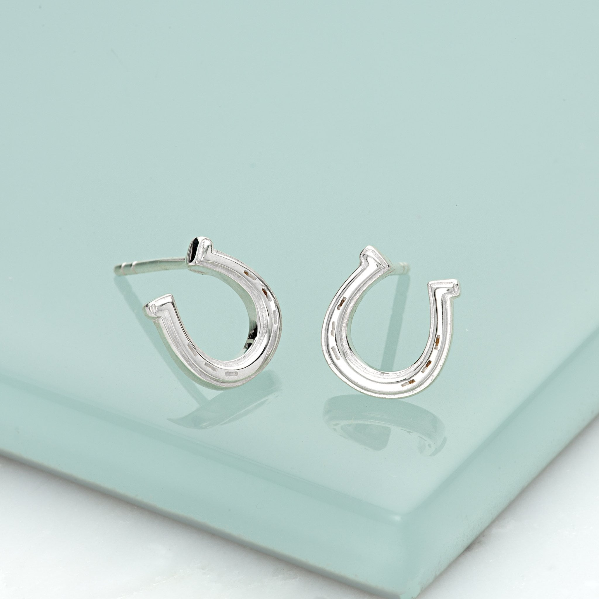 Silver Lucky Horseshoe Stud Earrings - Lily Charmed