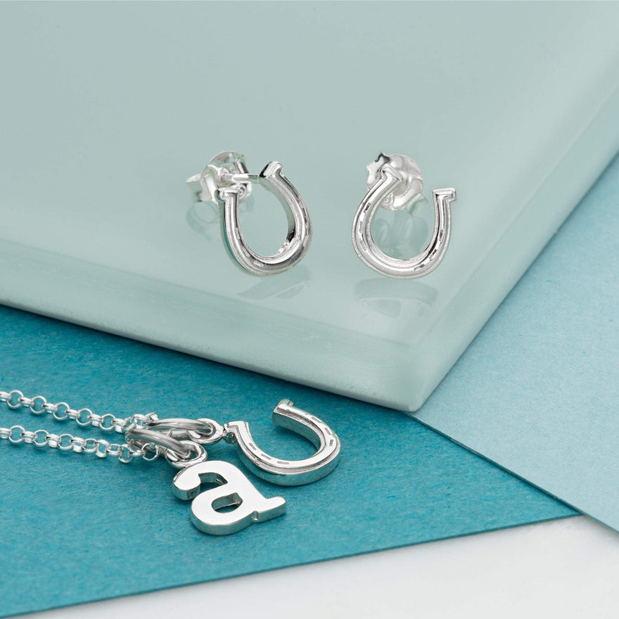Silver Lucky Horseshoe Jewellery Set With Stud Earrings